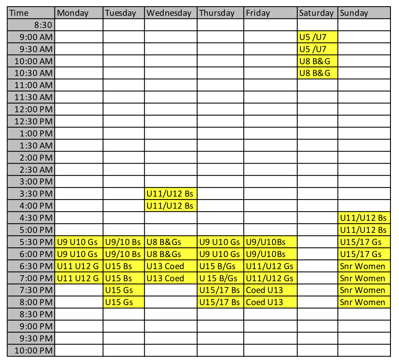 Winter Field Schedule